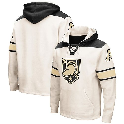 Men's Colosseum Cream Army Black Knights 2.0 Lace-Up Pullover Hoodie