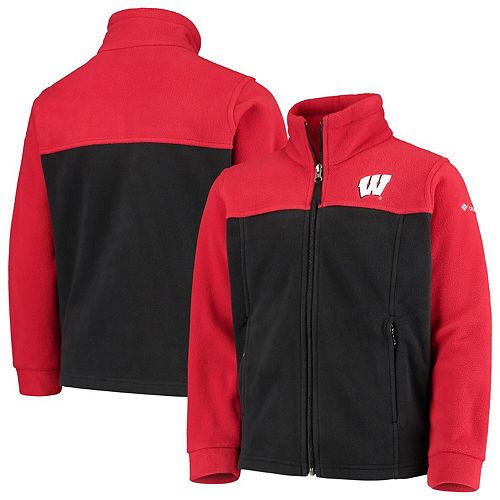Youth Columbia Red/Black Wisconsin Badgers Flanker II Fleece Full-Zip Jacket