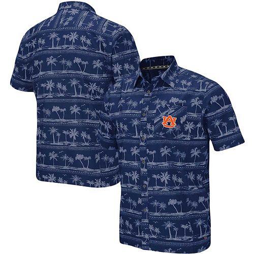 Men's Colosseum Navy Auburn Tigers Big & Tall Hilo Camp Button-Up Shirt