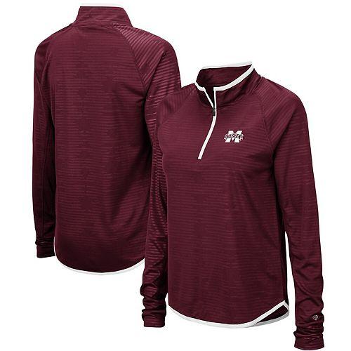 Women's Colosseum Maroon Mississippi State Bulldogs Soulmate Raglan Quarter-Zip Pullover Jacket