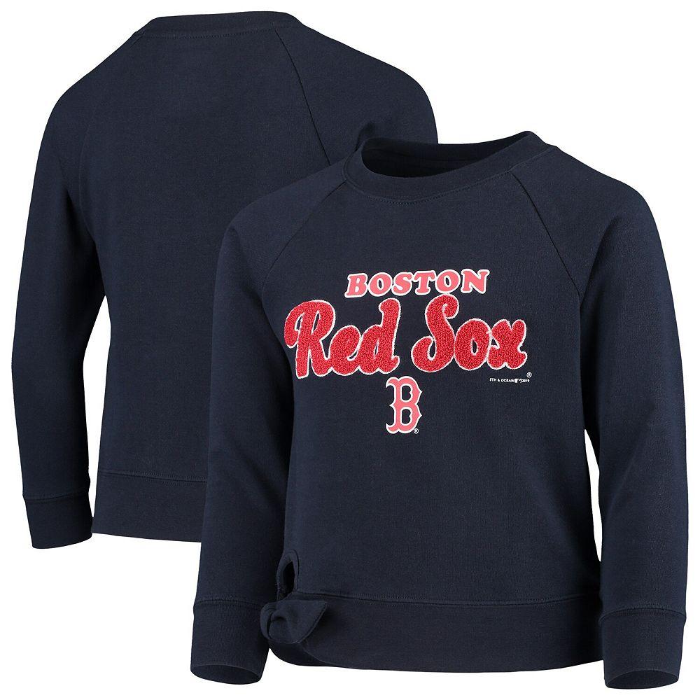Girls Youth New Era Navy Boston Red Sox Side-Tie Pullover Sweatshirt