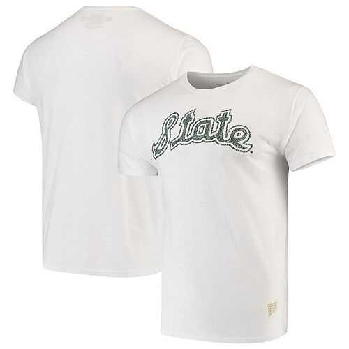Men's Original Retro Brand White Michigan State Spartans Vintage School Logo Slub T-Shirt