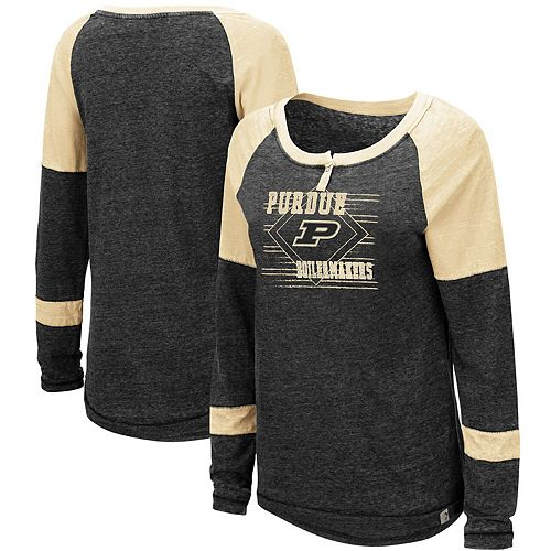Women's Colosseum Heathered Black Purdue Boilermakers Miranda Henley Raglan Long Sleeve T-Shirt