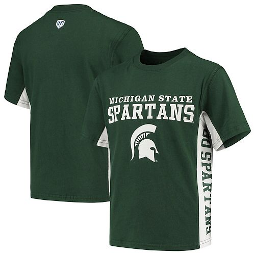 Youth Hands High Green/White Michigan State Spartans Side Bar T-Shirt