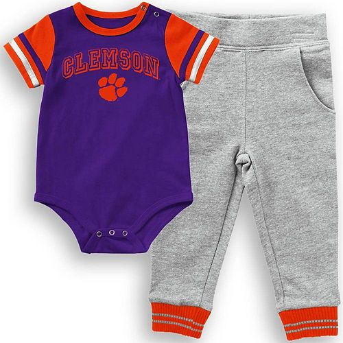 Infant Colosseum Purple Clemson Tigers Baseball Bodysuit and Pants Set