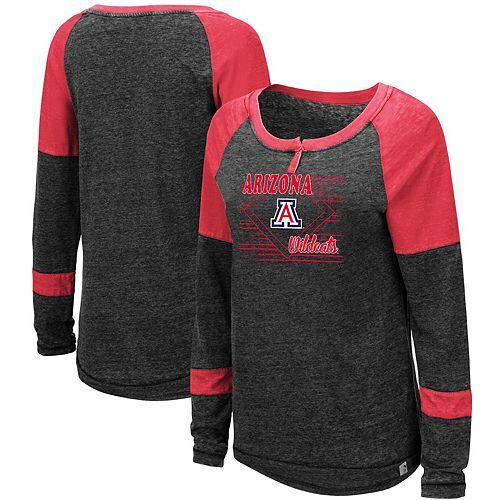 Women's Colosseum Heathered Black Arizona Wildcats Miranda Henley Raglan Long Sleeve T-Shirt