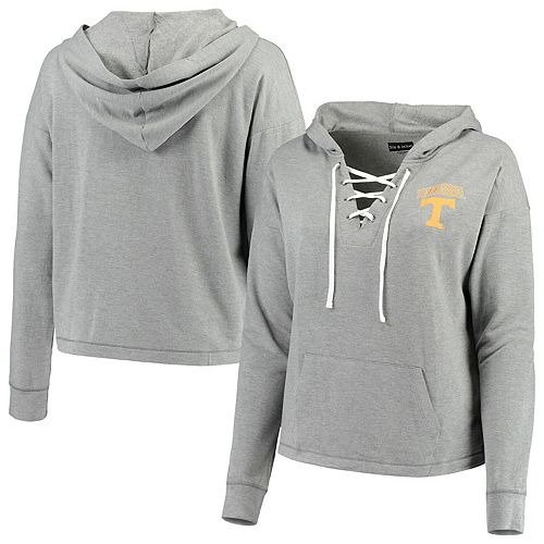 Women's 5th & Ocean by New Era Heathered Gray Tennessee Volunteers Plus Size Lace-Up Pullover Hoodie