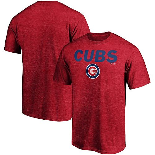Men's Majestic Heathered Red Chicago Cubs Basic T-Shirt