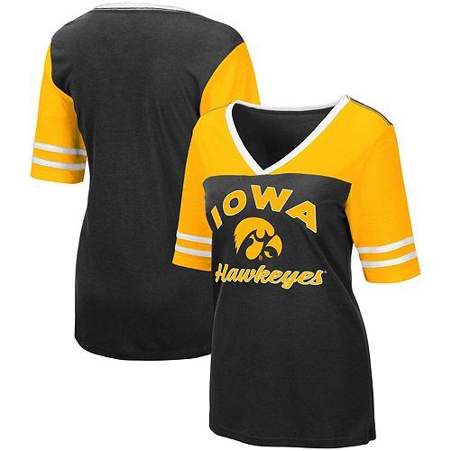 Women's Colosseum Black Iowa Hawkeyes Samantha V-Neck T-Shirt
