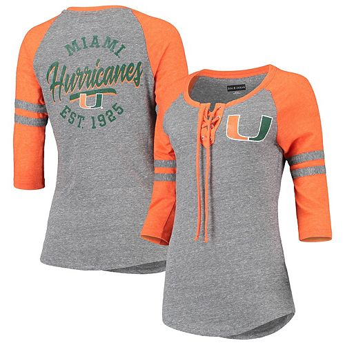 Women's 5th & Ocean by New Era Heathered Gray Miami Hurricanes 2.0 Tri-Blend Lace-Up Three-Quarter Sleeve T-Shirt