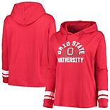 Women's Scarlet Ohio State Buckeyes Plus Size Charged Oversized Long Sleeve Hooded T-Shirt