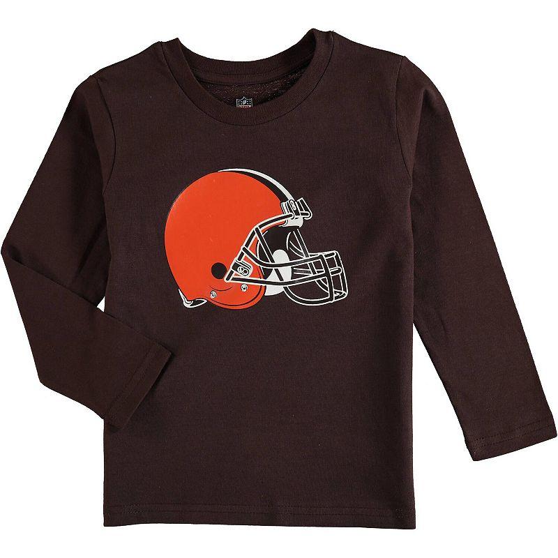Preschool Brown Cleveland Browns Team Logo Long Sleeve T-Shirt. Kids Unisex. Size: 4