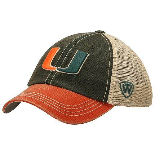 Youth Top of the World Green Miami Hurricanes Offroad Trucker Snapback Hat