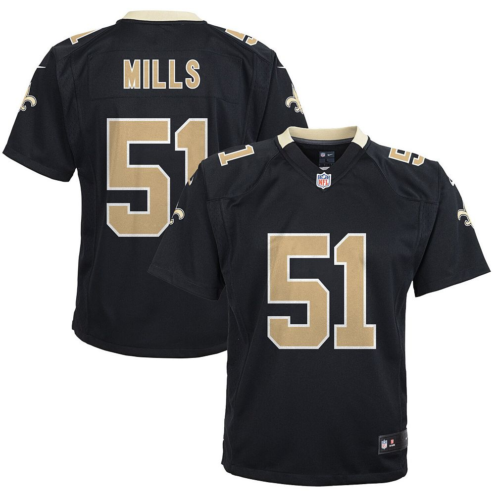 Youth Nike Sam Mills Black New Orleans Saints Retired Game Jersey