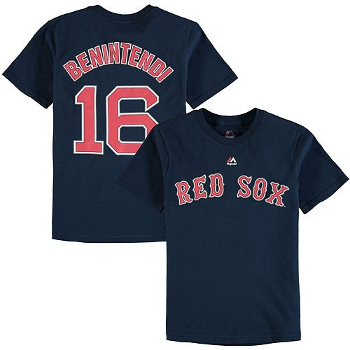 Youth Majestic Andrew Benintendi Navy Boston Red Sox Player Name & Number T-Shirt