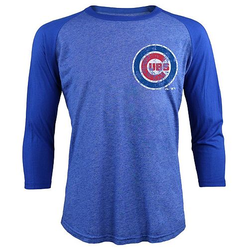 Men's Majestic Threads Anthony Rizzo Royal Chicago Cubs Tri-Blend 3/4-Sleeve Raglan Name & Number T-Shirt