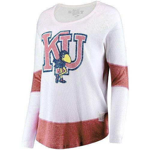 Women's Original Retro Brand White Kansas Jayhawks Contrast Boyfriend Thermal Long Sleeve T-Shirt