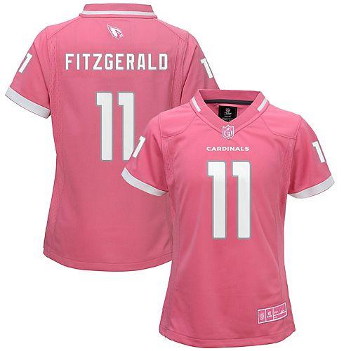 Girls Youth Larry Fitzgerald Pink Arizona Cardinals Fashion Bubble Gum Jersey
