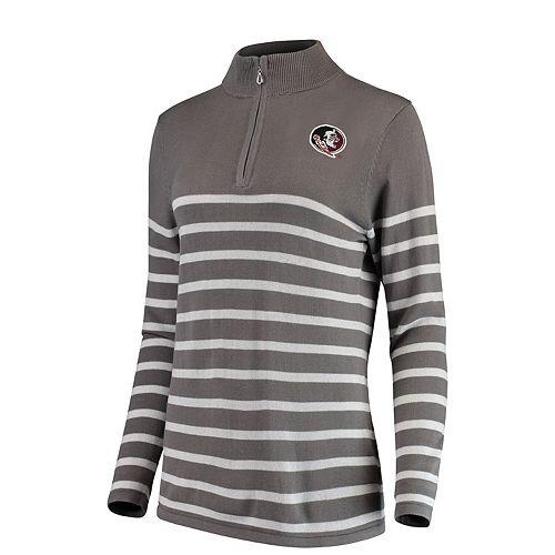 Women's Gray/White Florida State Seminoles Lurex Striped Quarter-Zip Pullover Sweater