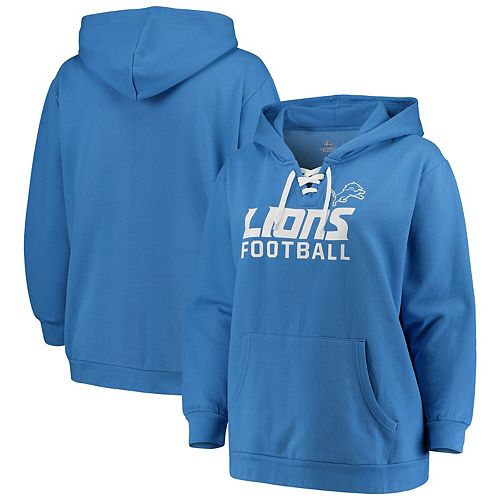 Women's Majestic Blue Detroit Lions Plus Size Lace-Up Fleece Pullover Hoodie