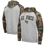 Men's Colosseum Heathered Gray/Realtree Camo Air Force Falcons Arch & Logo 2.0 Raglan Pullover Hoodie