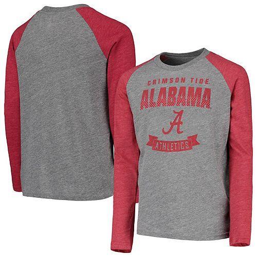Youth Heathered Gray Alabama Crimson Tide Equipped Raglan Tri-Blend Long Sleeve T-Shirt