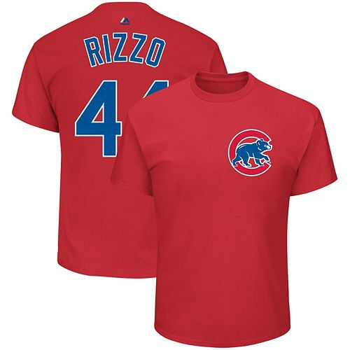 Men's Majestic Anthony Rizzo Red Chicago Cubs Name & Number T-Shirt