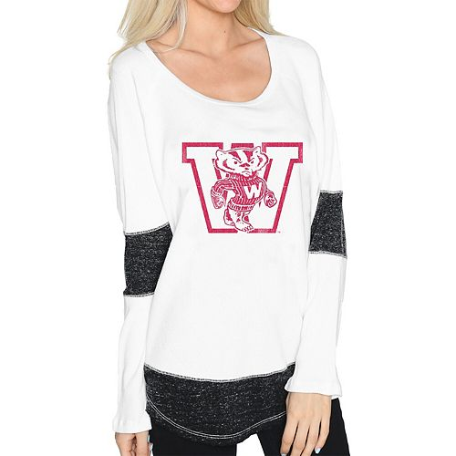 Women's Original Retro Brand White Wisconsin Badgers Contrast Boyfriend Thermal Long Sleeve T-Shirt