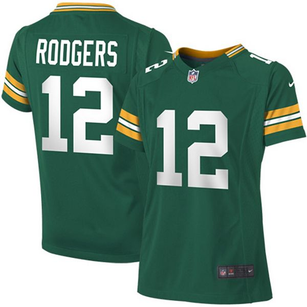 Girls Youth Green Bay Packers Aaron Rodgers Nike Green Game ...