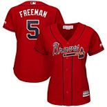 Women's Majestic Freddie Freeman Scarlet Atlanta Braves 2019 Alternate Cool Base Player Jersey