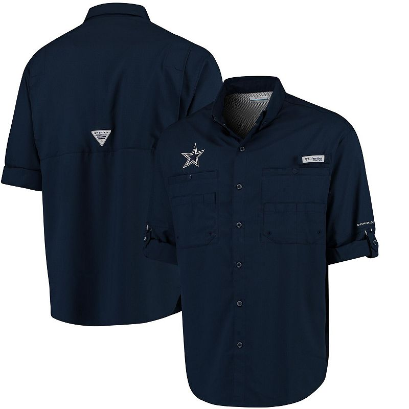 Men's Columbia Navy Dallas Cowboys Tamiami II Long Sleeve Camp Button-Up Shirt. Size: Small. Blue