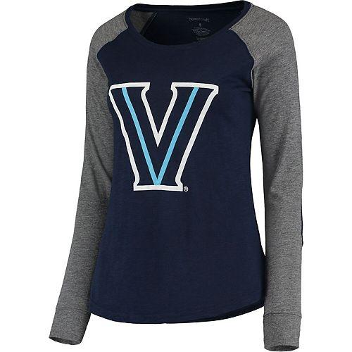 Women's Navy/Gray Villanova Wildcats Preppy Elbow Patch Slub Long Sleeve T-Shirt