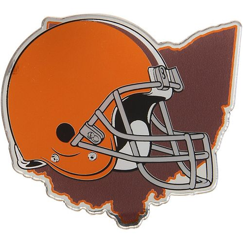 Cleveland Browns State Shape Acrylic Metallic Auto Emblem