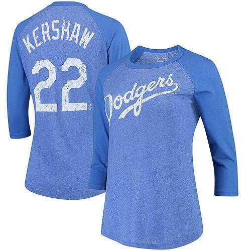 Women's Majestic Threads Clayton Kershaw Royal Los Angeles Dodgers Name & Number Tri-Blend Three-Quarter Length Raglan T-Shirt
