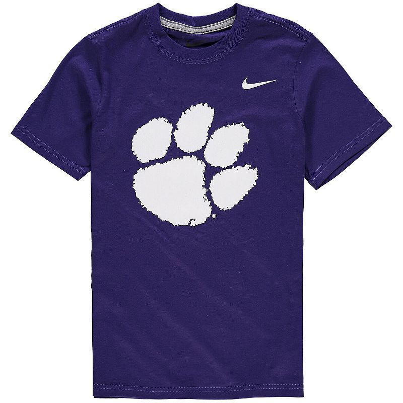 Youth Nike Purple Clemson Tigers Cotton Logo T-Shirt. Boy's. Size: YTH Large