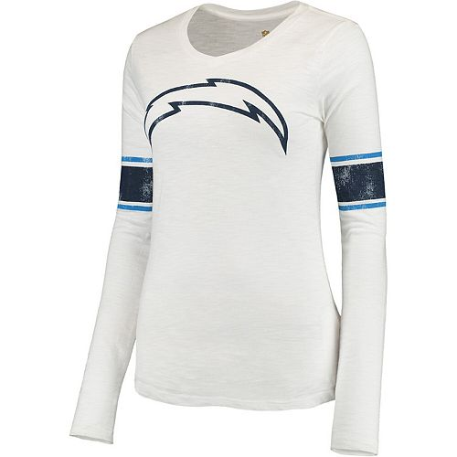Juniors White Los Angeles Chargers Team Leader V-Neck Long Sleeve T-Shirt