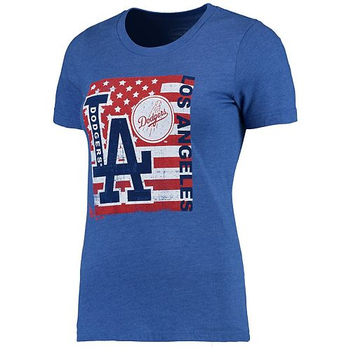 Women's Majestic Threads Royal Los Angeles Dodgers Stars & Stripes Flag T-Shirt