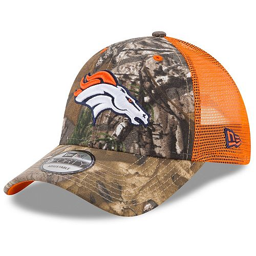 Men's New Era Realtree Camo/Orange Denver Broncos Trucker 9FORTY Adjustable Snapback Hat