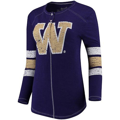 Women's Original Retro Brand Purple Washington Huskies Sleeve Striped Henley Long Sleeve T-Shirt
