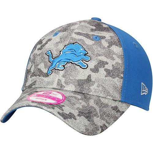 Women's New Era Gray/Blue Detroit Lions Glamo Camo 9FORTY Adjustable Hat