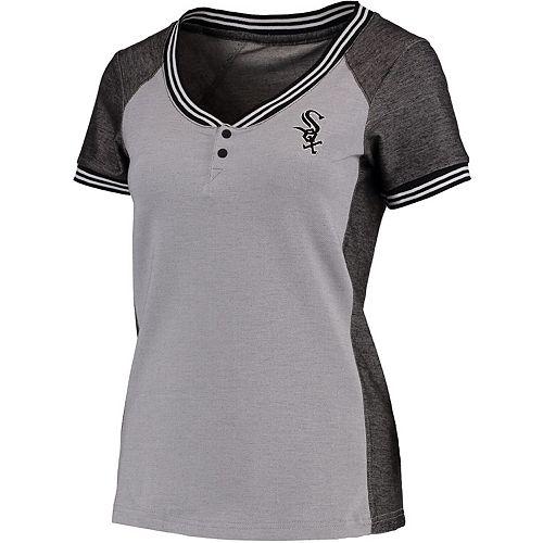 Women's Antigua Gray/Black Chicago White Sox Quick Henley T-Shirt