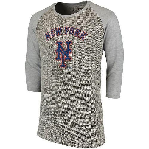 Men's Majestic Threads Gray New York Mets Tri-Yarn French Terry 3/4-Sleeve Raglan T-Shirt