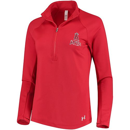 Women's Under Armour Red Los Angeles Angels Team Logo Half-Zip Performance Jacket