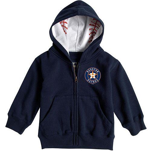 Infant Soft As A Grape Navy Houston Astros Baseball Print Full-Zip Hoodie