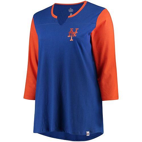 Women's Majestic Royal/Orange New York Mets Plus Size Above Average 3/4-Sleeve Raglan T-Shirt