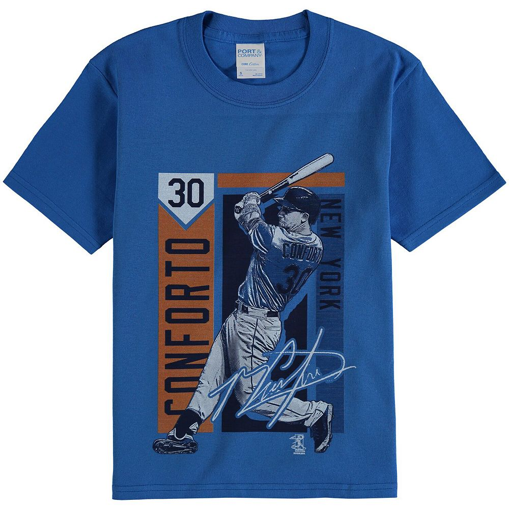 Youth Michael Conforto Royal New York Mets Color Block Player Series Graphic T-Shirt
