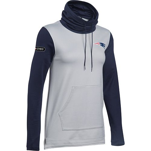 Women's Under Armour Heathered Gray/Navy New England Patriots Combine Authentic French Terry Cowl Neck Hoodie