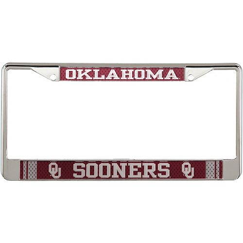 Oklahoma Sooners Jersey Small Over Large Metal Acrylic Cut License Plate Frame