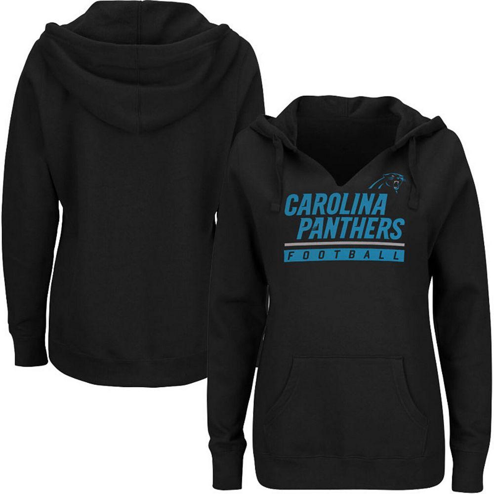 Women's Majestic Black Carolina Panthers Plus Size Self Determination Pullover Hoodie