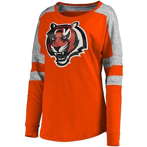 Women's 5th & Ocean by New Era Orange Cincinnati Bengals Athletic Space Dye Long Sleeve T-Shirt